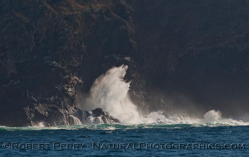 big waves crashing sea cliffs 2009 11-08 Sta Cruz Island - 305