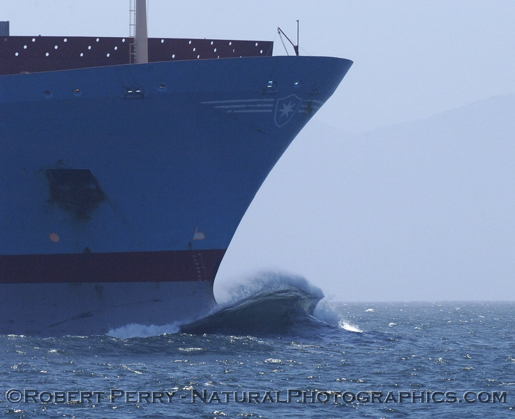 Perfect bow wave, vessel Knud Maersk.  Santa Barbara Channel.