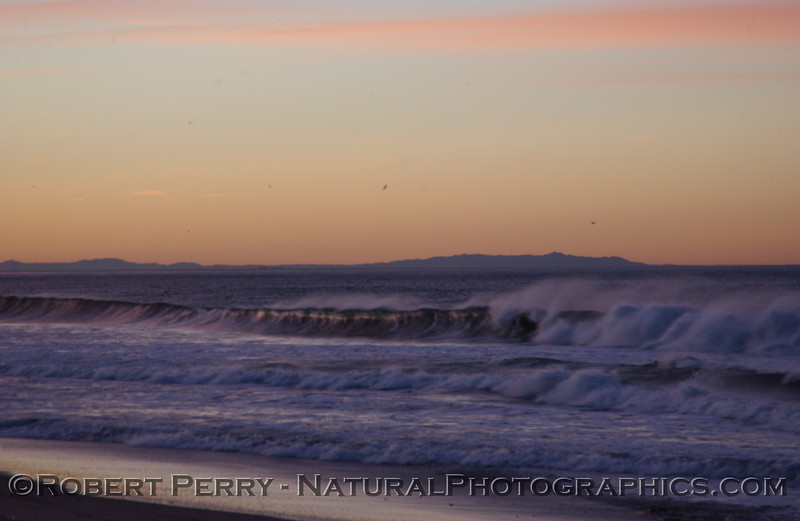 January 2006, dawn at Zuma Beach with Catalina Island in background.