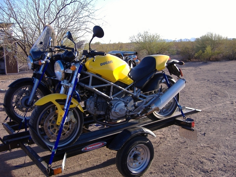 The motorcycles are secured for the journey north!