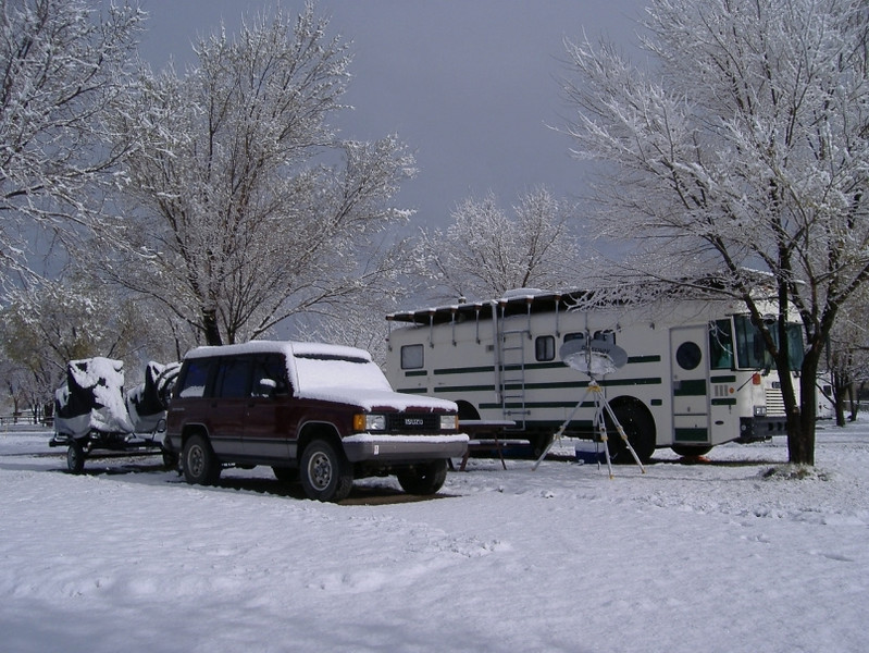 "Monday morning at the <a href=""http://www.koa.com/where/ut/44107/"" target=""_new"">Panguitch KOA</a>. Three inches of snow made us wonder if...perhaps...we'd left southern Arizona a couple of weeks early?"