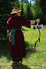 Archery participant strikes a pose. Beautiful garb...the Timex was the only non-period piece.
