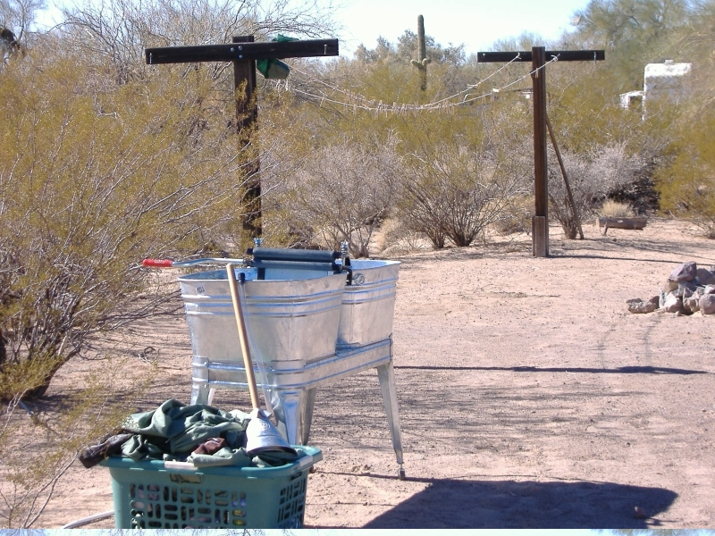 Even without instructions, the washtub stand is easily assembled and looks great next to our solar clothes dryer! :o)