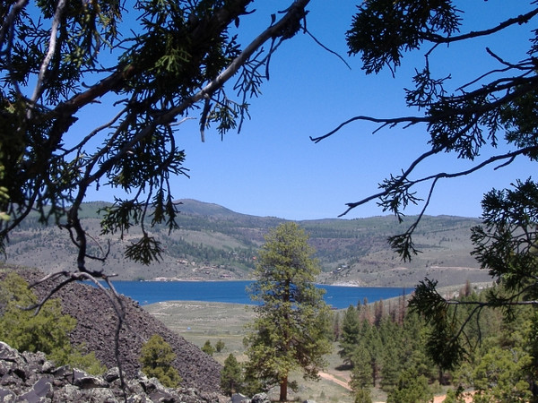 Panguitch Lake Utah from southern lava flow. June.