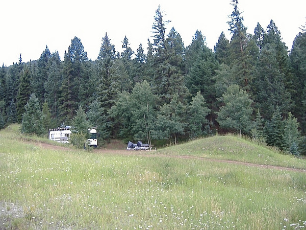 "We finally arrived at our destination...<a href=""http://www.lostburro.com"" target=""_new"">Lost Burro Campground</a>, about 4 miles outside of Cripple Creek, Colorado.  Our bus is hiding among the trees...stealth mode!"