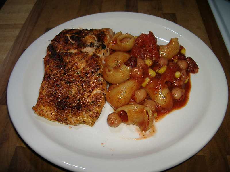 Tonight we utilized the grill at our campsite and made grilled salmon rubbed with cajun spices, along with a goulash of two beans, corn, macaroni and secret spices.<br /> Although we're adverse to buying any new stuff...this may be grounds for incorporating a hibachi into our kitchen arsenal! Yummy!