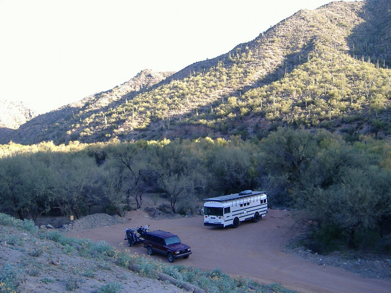 We stopped for the night at Gila River Recreation Area (BLM) approximately five miles north of Winkleman on Hwy 77.