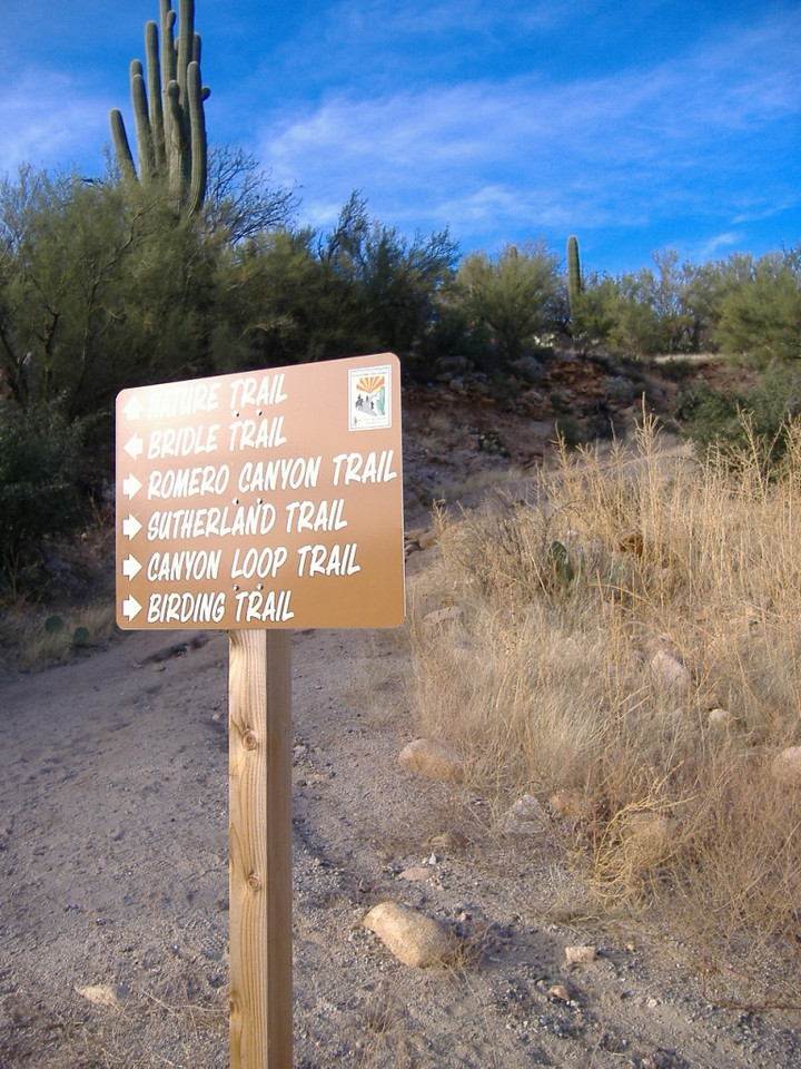 This trailhead sign leads to many hikes of varying length and difficulty.
