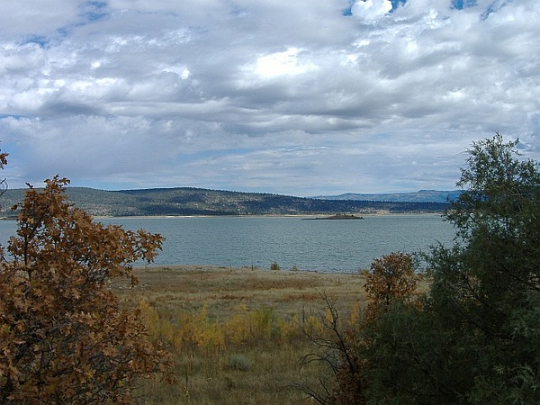 Looking northeast across the lake, with a small island in the middle distance.