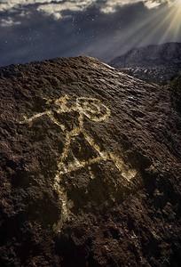 Apache Warrior Petroglyph Under the Moon