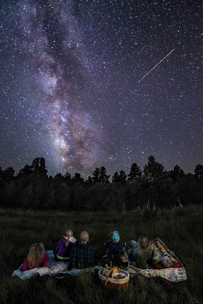 Perseid Meteor Shower In The Mountains Of New Mexico With The Family