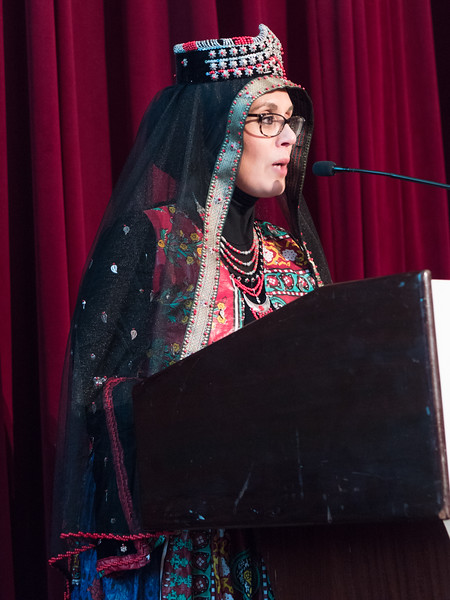 Founder and Director of the Muslim Community Netowrk, Debbie Almontaser addresses the audience. She promised an organization that would continue it work to fight bias and repression unleasshed by the Trump administration and said she would continue to build alliances with other communities. Those alliances were evident by the wide diversity in the room.