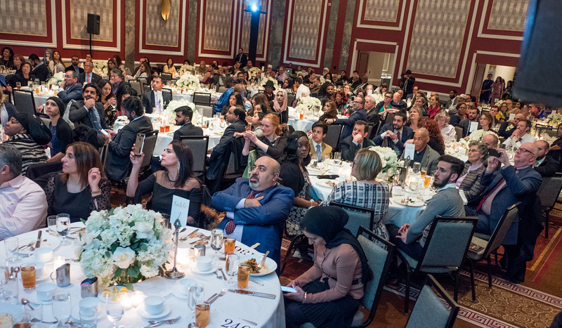 A diverse crowd of people filled the Hilton to support and celebrate with the Muslim Community Network.