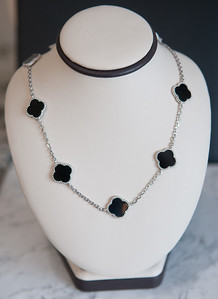 3: Sterling silver clover necklace with black onyx clovers. #235-00070