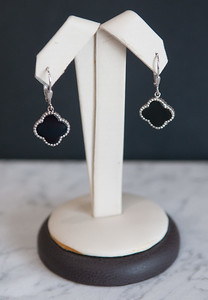 4: Sterling silver, black onyx, clover earrings. #210-00180