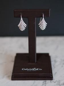 """8: 14kt white gold, .80 ct total weight, """"fan"""" earrings.  #150-00323"""