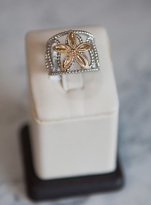 9: Sterling silver band with 14kt yellow gold starfish mounted on top. #410-00124