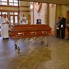Receiving the body Monday evening prior to the vigil and funeral mass.