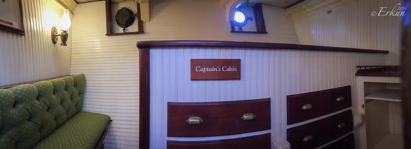 Tall ship Elissa - Pano of Captain's Cabin