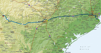 443-Mile Route from Houston to Seminole Canyon SP and HS