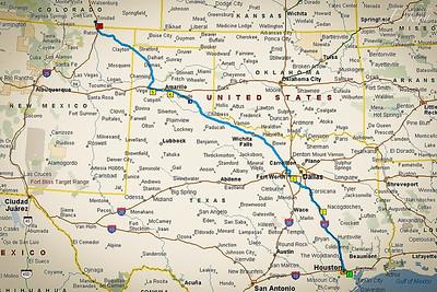 Houston, TX to Trinidad Lake State Park, CO ... 862 miles (1,379 km) -- 2 nights @ Houston Coach Care; 1 night @ Shady Oaks, Fairfield, TX; 1 night @ Amarillo Ranch, Amarillo, TX.