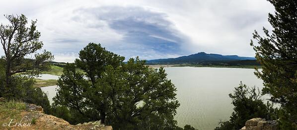 Trinidad State Lake Park - Trinidad, CO. Park View Trail - Trinidad Lake and Fisher Peak panorama. 6 Jun 2015