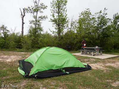 Buccaneer State Park - Site 68; taking down the screen shelter in preparation for the storm. Waveland, MS - 10 Apr 2013