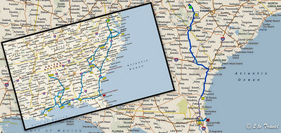 381 miles (610 km) from Lake Greenwood, SC to NS Mayport, FL. 8 Aug 2013