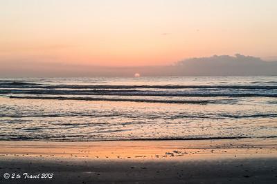 Pelican Roost RV Park - walk on the beach at sunrise. NS Mayport, FL - 14 Aug 2013