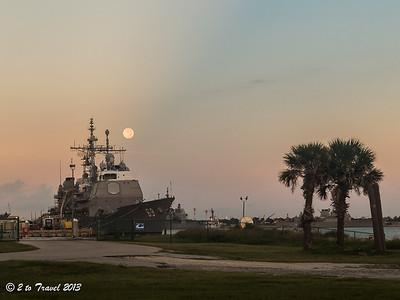 Pelican Roost RV Park - USS Vicksburg in the boat basin. NS Mayport, FL - 21 Aug 2013