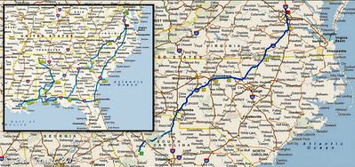 From Lake Greenwood, SC, to Greensboro, NC, to Ashland, VA -- 441 miles.