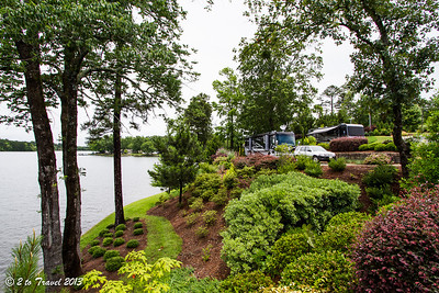 Lake Greenwood Motorcoach Resort - site 32 as seen from site 33's deck. Cross Hill, SC - 6 Jun 2013