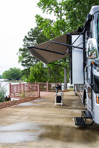Lake Greenwood Motorcoach Resort - breaking out the safari kitchen at site 32. Cross Hill, SC - 6 Jun 2013