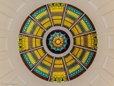 Florida Historic Capitol Museum - the artglass dome as seen from the first floor rotunda.  Tallahassee, FL - 2 Jan 2013