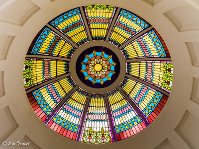 Florida Historic Capitol Museum - the artglass dome as seen from the second floor rotunda.  Tallahassee, FL - 2 Jan 2013