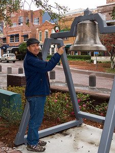 The bell from the USS Tallahassee.  The keel for Monitor No 9 was laid down in January 1899 in Elizabethport, NJ.  She was launched on 30 Nov 1901 and commissioned the USS Florida on 18 Jun 1903.  The Florida was renamed Tallahassee on 1 Jul 1908 to free the state name for reassignment to a new battleship.  At various times between 1906-1907 Tallahassee served as the Naval Academy's midshipman training ship, trained naval reservists, and conducted ordnance experimentation.  She was the ship chosen to prove that stacked turrets would ve safe and effective.  In 1915, she was converted to a submarine tender.  During WWI, she served in the Canal Zone, the Virgin Islands, and the Bermuda areas, earning the WWI Victory Medal for the period 6 Apr 1917 to 11 Nov 1918.  She was decomissioned on 24 Mar 1922. Talahassee, FL - 2 Jan 2013