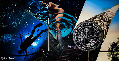 Florida's new State Capitol Building - one of two murals at the west plaza entrance, this one represents the state's  involvement with the large frontiers of space and water. Tallahassee, FL - 2 Jan 2013