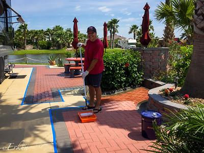 Sealing the pavers - GWRVR, Port Aransas, Texas. 5 May 2015
