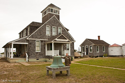 "An ""Erin was at Chicamacomico"" photo op with the 1911 station and cook house in the background."