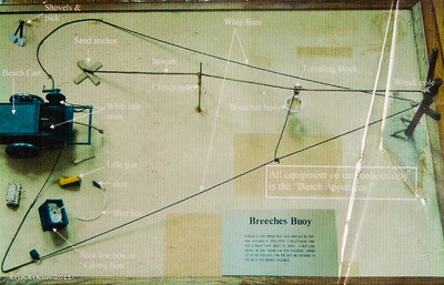 Photograph of how the breeches buoy rescue works. (From the exhibit in the 1874 station.)