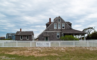 "Welcome to the Chicamacomico Life-Saving Station Historic Site and Museum. 1911 Station with the cook house from the same year to the left. The station's name comes from the Algonquian family of languages and means ""land of disappearing sands."""