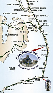 Map showing the location of the Chicamacomico Life-Saving Station in Rodanthe.