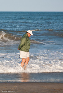 Going for a walk in the surf at Hatteras Beach.
