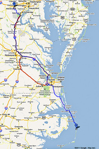 This Google Map image shows our route from Northern Virginia to the Outer Banks of North Carolina.  The red lines show detours we made due to heavy traffic on the way back home.