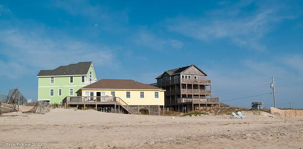 Hatteras Beach fronting Camp Hatteras - summer homes on beach past Rodanthe Pier.