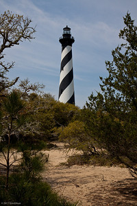 Cape Hatteras Lighthouse - Cape Hatteras National Seashore Originally 1,600 feet from the ocean, by 1987 the lighthouse was just 120 feet from the crashing waves. Jacked up and moved along on roll beams, the lighthouse was relocated to its new site in just a few weeks during the summer of 1999.