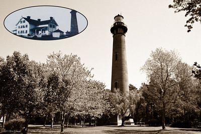"Currituck Beach Lighthouse - Corolla A yesteryear-type image from modern day, with an ""as it was"" historic photo inset."