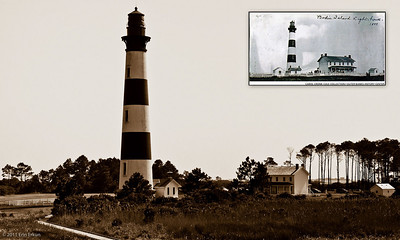 "Bodie Island Lighthouse - Cape Hatteras National Seashore A yesteryear-type image from modern day, with an ""as it was"" historic photo (1899)inset."