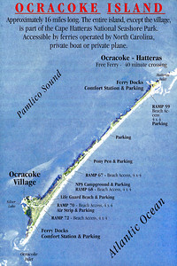 Map of Ocracoke Island showing points of interest from the ferry dock in the north to Ocracoke Village in the south. (scanned from brochure)