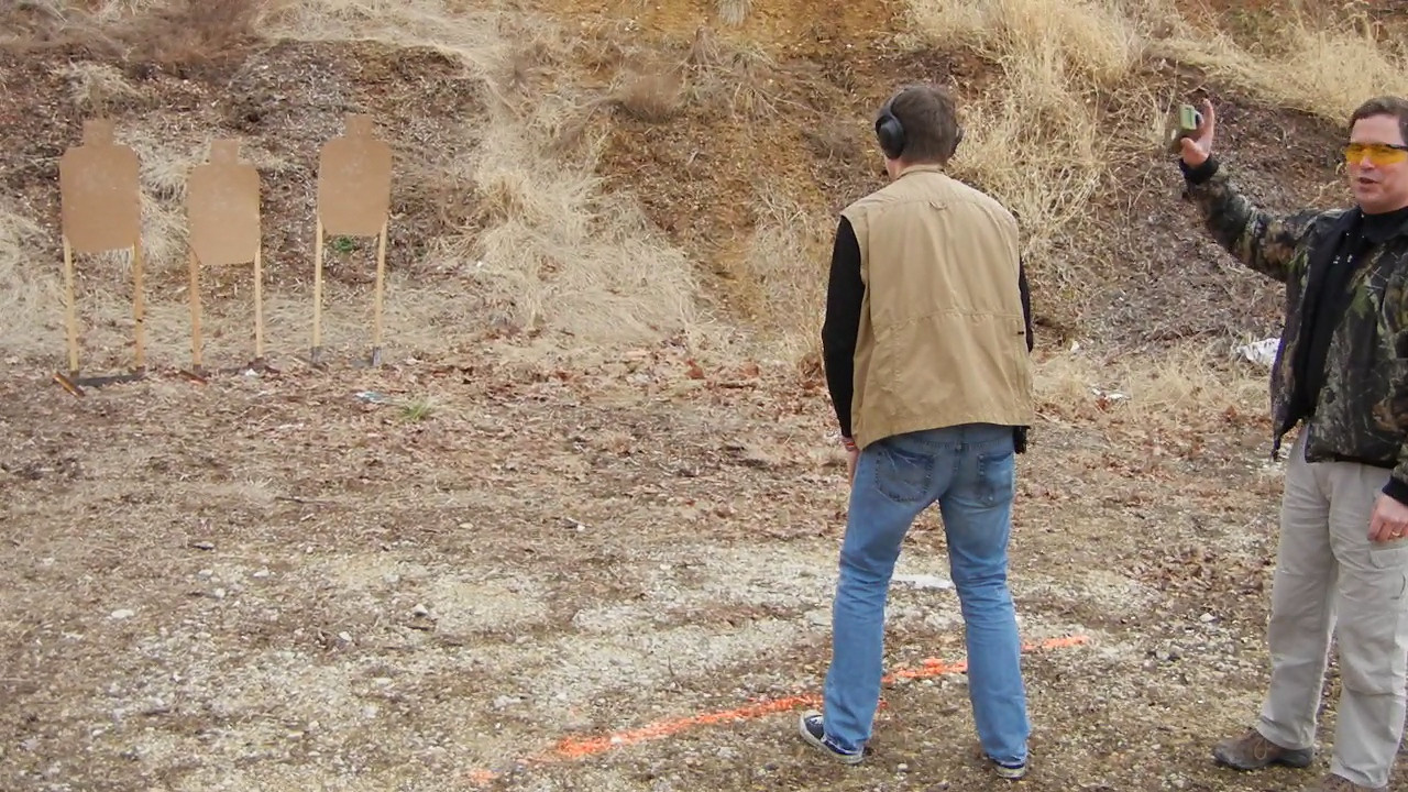 Jeffrey Jr's first IDPA match at the Benchrest club on February 19, 2011.  He got 0 down on this stage and beat his old man's score.  Yikes!